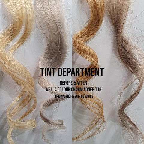 Before & After - Wella Color Charm Permanent Toner T18 Lightest Ash Blonde