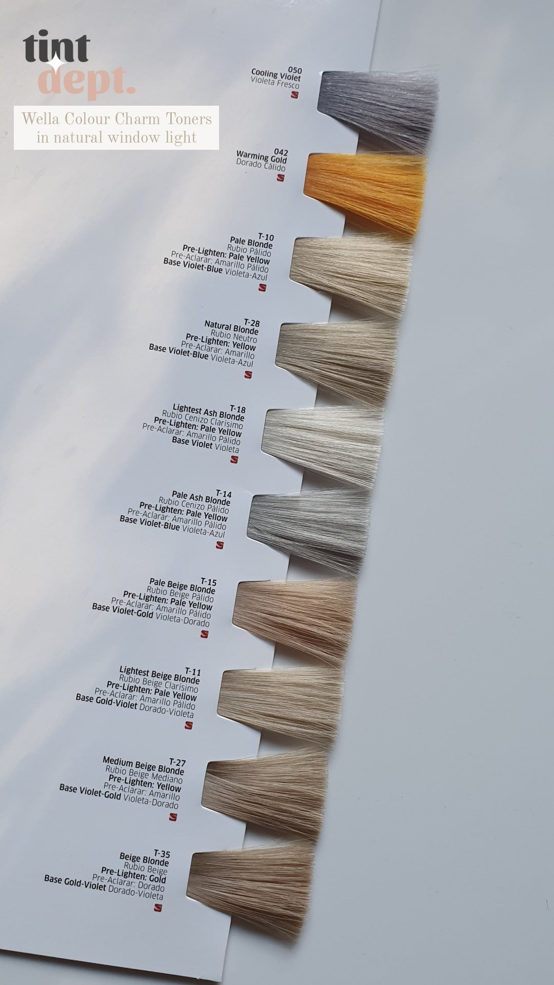 Wella Colour Charm Toner Swatches In Natural Light