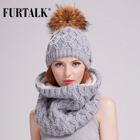Winter Scarf Hat Set Knit Pompom