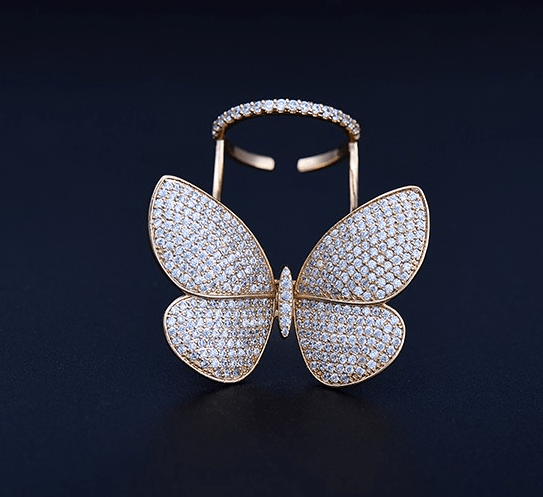 Zircon Crystal Stones Butterfly Ring