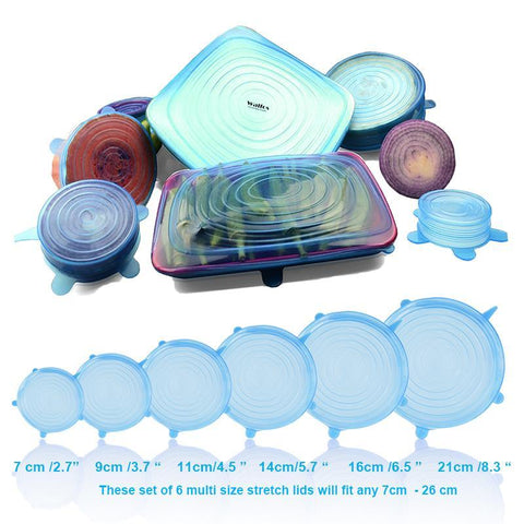 Image of Silicone Stretch Lids: 1 Set/6Pcs