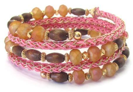 Multi Wood and Facet Glass Bead Mix Crochet Coiled Bracelet - IGOGES