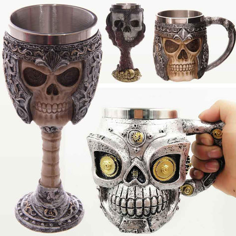 Image of Stainless Steel 3D Wolf, Dragon and Skull Mugs