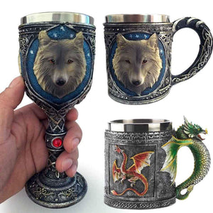 Stainless Steel 3D Wolf, Dragon and Skull Mugs