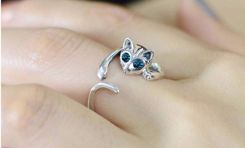 Kitten Ring With Blue Eyes - 2 Ring x 1 - IGOGES