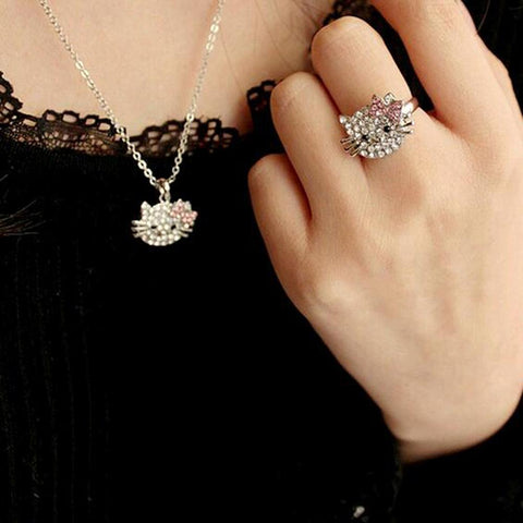Crystal Cat Stud Ring, Earring And Necklace - IGOGES