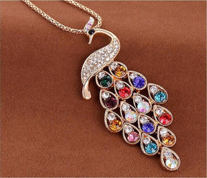 2017 New !! Fashion Fine Jewelry Super Dazzling Gold Color Rhinestone Colorful Peacock Long Necklace & Pendants
