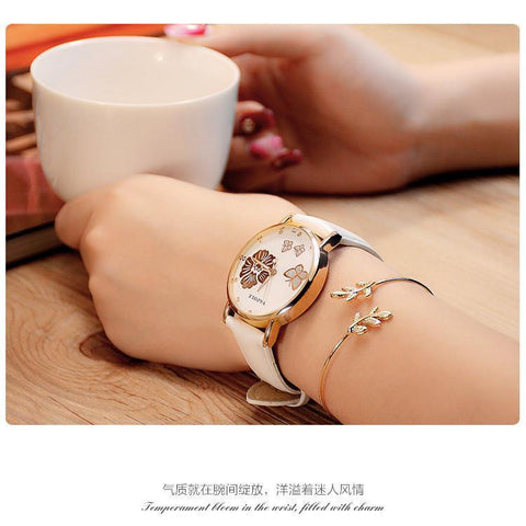 Image of New Fashion 2017 Watches Butterfly Flower Bling Genuine Leather - IGOGES