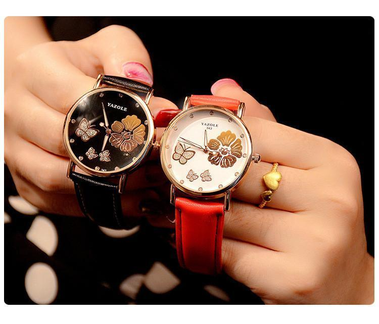 New Fashion 2017 Watches Butterfly Flower Bling Genuine Leather - IGOGES