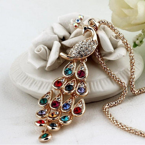 2017 New !! Fashion Fine Jewelry Super Dazzling Gold Color Rhinestone Colorful Peacock Long Necklace & Pendants - IGOGES