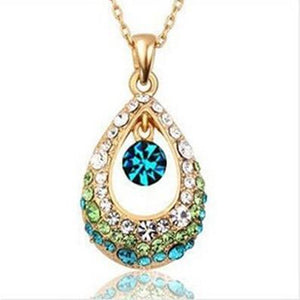 2017 New Hot Fashion Fine Jewelry 4 Colors Dazzling Super Gold Color Crystal Angel Teardrop Necklaces & Pendants