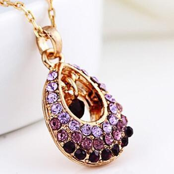 2017 New Hot Fashion Fine Jewelry 4 Colors Dazzling Super Gold Color Crystal Angel Teardrop Necklaces & Pendants - IGOGES