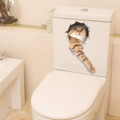 Image of Cat Fridge/Wall/Toilet Sticker Decal 3D - IGOGES