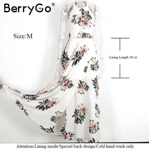 Image of Berrygo Floral Print Halter Chiffon Long Summer Dress Women Backless 2017 | IGOGES