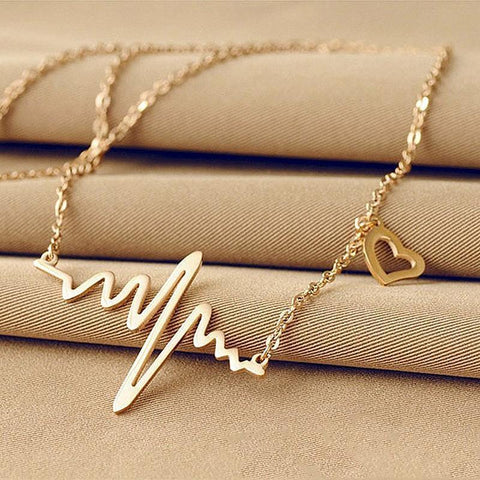 Image of Women ECG Heart Necklace Clavicle Choker Pendant