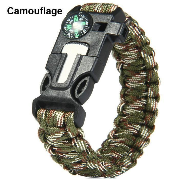 Survival Flint Fire Starter/Whistle/Rescue Rope Bracelet