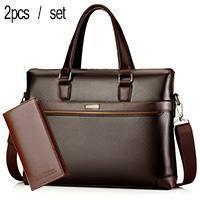 Image of PU Leather Laptop Briefcase For Men