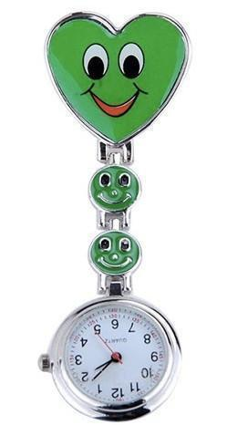 Smiley Faces Heart Clip On Watch