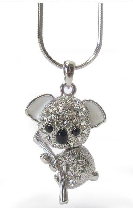Whitegold plating crystal koala pendant necklace