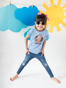 Happy girl wearing a t shirt mockup and round sunglasses under sky decorations a19478