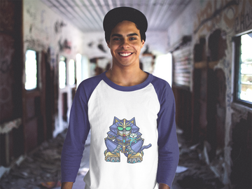 Mecha Cat 3/4 Sleeve Raglan Shirt