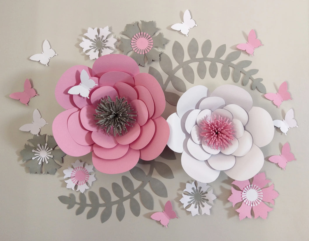 Flower Decor - Pink, Grey, White