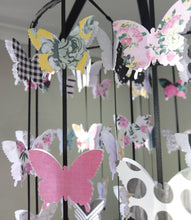 Black and Floral Butterfly Mobile