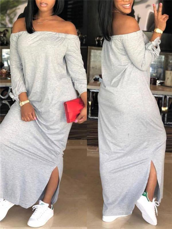 Off-The-Shoulder Tie-Sleeve Dress