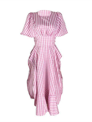 Plaid Slit Ruffle Dress