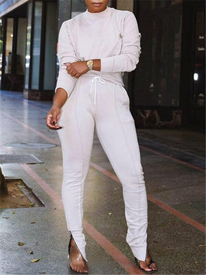 Solid Sweatshirt & Zip Slit Pants Set