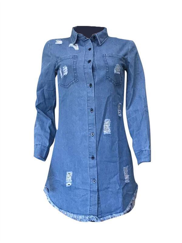 Ripped Button-Down Denim Shirt Dress