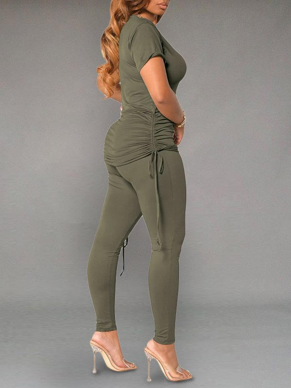 Solid Drawstring Top & Pants Set