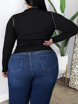 Plus Size Inside-Out Ribbed Top