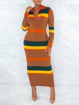 Colorblock Zip-Front Dress