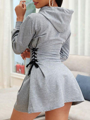 Lace-Up Hoodie Dress