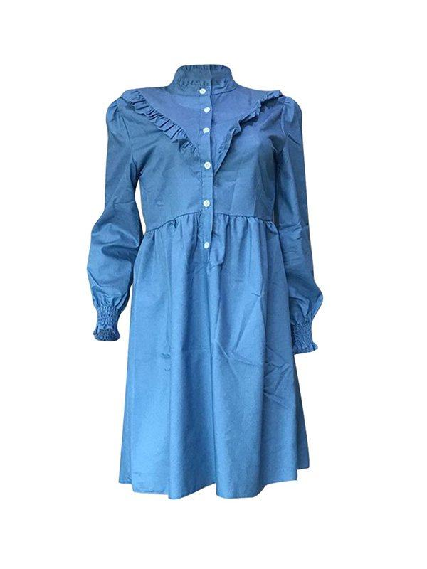 Frilled Denim Dress