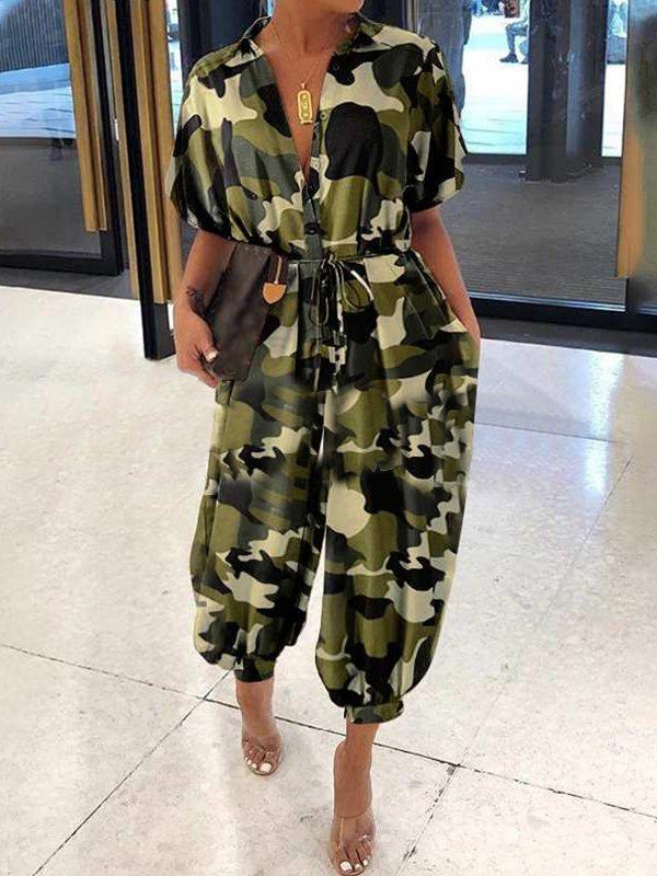 Camo Button-Front Jumpsuit