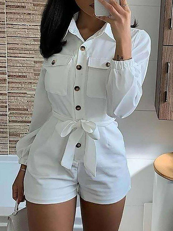 Button-Front Belted Romper