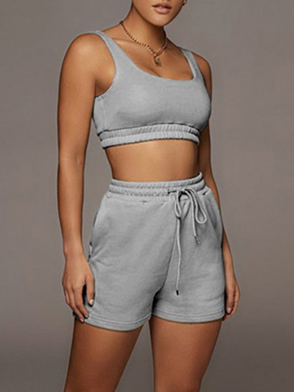 Cropped Tank Top & Drawstring Shorts Set