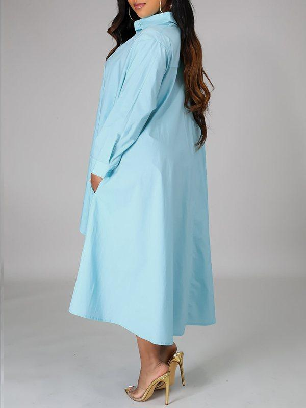 Solid High-Low Shirt Dress