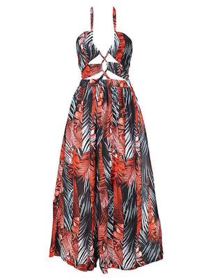 Leaf-Print Halter Maxi Dress
