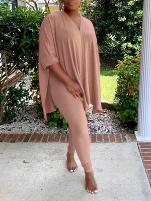 Solid V-Neck Slit Top & Pants Set