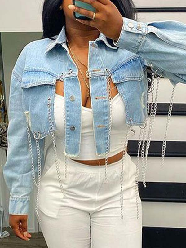 Chain Cropped Denim Jacket