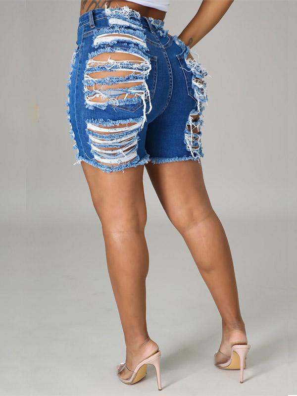 Ripped Front & Back Denim Shorts