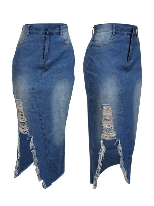 Destroyed Denim Skirt