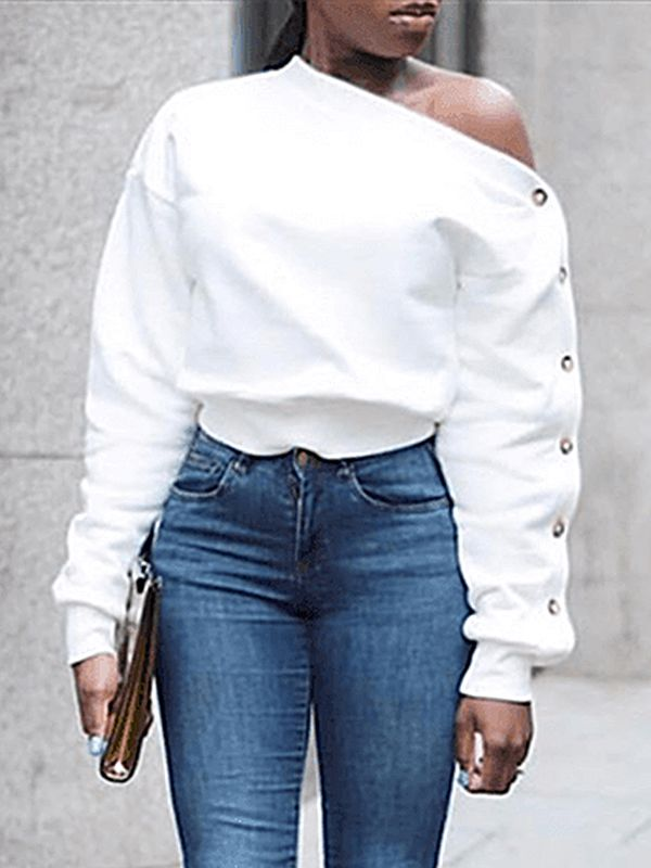 One Shoulder Button Sleeve Top