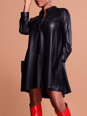 Stand Collar PU Tunic Dress