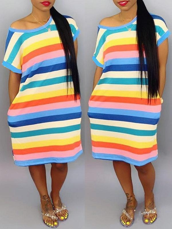 Rainbow Stripe Tee Dress--Size S