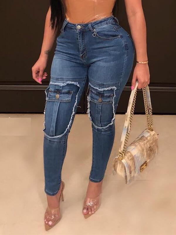Faux-Pockets High-Waist Jeans
