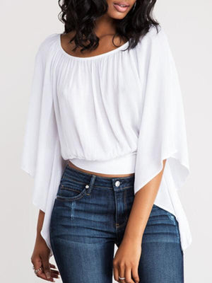 Tie-Back Batwing-Sleeve Top